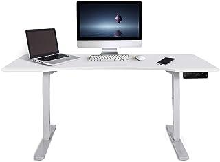 Fortia 150cm Wide Motorised Height Adjustable Ergonomic Standing Desk for Office or Home, Matte White Desktop and Frame
