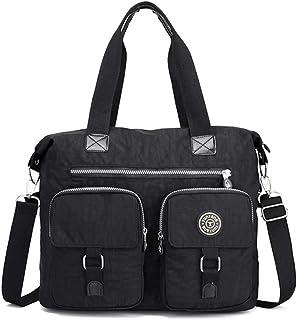 DNFC Damen Handtasche Schultertasche Groß Umhängetasche Wasserdicht Henkeltasche Beuteltasche Vintage Shopper Tasche für Frauen Mädchen Schwarz