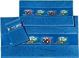 Erwin Müller Kinder Handtuch-Set, Frottier-Set 3-TLG. Traktor blau Größe 70x110 cm + 50x70 cm +...