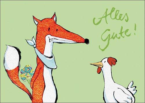 Grappige verjaardagskaart met vos en kip: Alles Gute! • Ook voor direct verzenden met uw persoonlijke tekst als inlegger. • Mooie felicitatie cadeaukaart met envelop zakelijk & privé