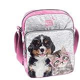 Studio Pets - Bolso bandolera para niños (24 x 18 x 6 cm), diseño de perros y gatos con gafas, color gris y rosa