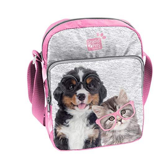 Kinder Schultertasche 24x18x6 cm - Studio Pets - Hund & Katze MIT Brille - GRAU/ROSA