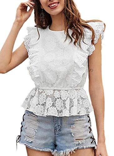 Blusa sin Mangas con Cuello Redondo Transparente con Adornos de Encaje y Color sólido de Moda para Mujer