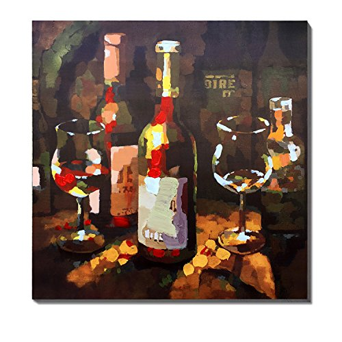 3Hdeko-Still Life Wine and Wine Glass Print painting Brown Artwork For Office Walls,Ready To Hang (30x30Inch)