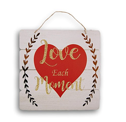 Valentine's Themed Glittery Love Each Moment Decor Sign with Jute Hanger - 10.5 x 10.5 Inches
