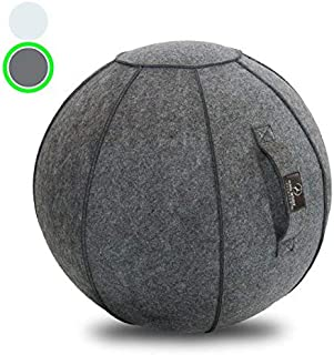Sitting Ball Chair with Handle for Home, Office, Pilates, Yoga, Stability and Fitness - Includes Exercise Ball with Pump