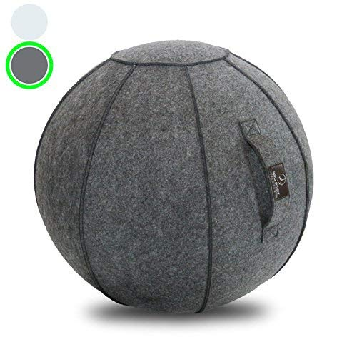 Sitting Ball Chair with Handle for Home, Office, Pilates, Yoga, Stability and Fitness - Includes...