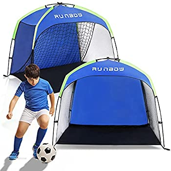 RUNBOW Tent-Style Soccer Goals for Backyard Portable Soccer Goal Tent for Kids and Teens - Outdoor Training Soccer Nets with Carry Bag 55 X 32 X 43inch