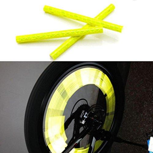 sunnymi Fahrradzubehör 24pcs Reflektierende Warnstreifen Schlauch Radfahren Fahrrad Rad Speichen Reflektor Clips (Gelb)