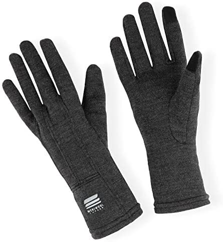 MERIWOOL Merino Wool Unisex Glove Liners for use with Touch Screens in Charcoal Grey Large product image