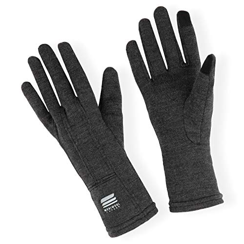 MERIWOOL Merino Wool Unisex Glove Liners for use with Touch Screens in Charcoal Grey – Large