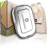LÖWENKÖNIG® - NEU - Premium Edelstahl Brotdose Auslaufsicher [1200ml] + Baumwollbeutel & Trennwand - Die verbesserte Lunchbox ist auslaufsicher. & kinderleicht zu Reinigen. - Für Kinder & Erwachsene.