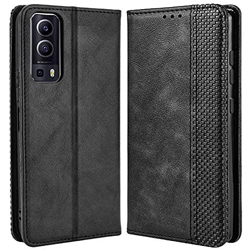 DOINK Retro Klapp Hülle für VIVO Y52 5G / Y72 5G, Premium PU Leder Handyhülle mit Kartenfächer & Geldbeutel - Schwarz