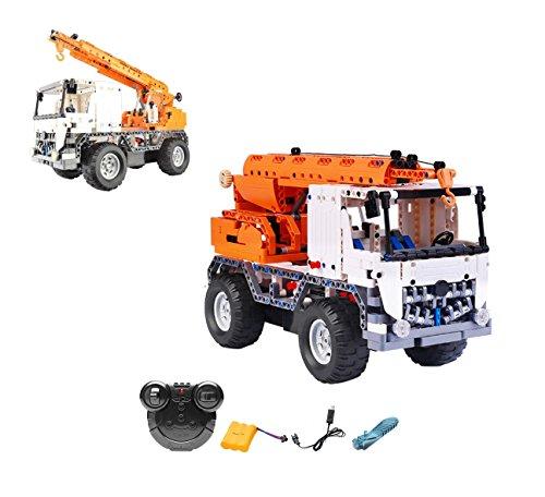 2.4GHz RC Steckbausatz DIY ferngesteuerter 2in1 Schwerlastkran LKW Truck aus Bausteinen zum Selber bauen bauen, Komplett-Set