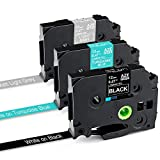 Greateam Compatible Label Tape Replacement for Brother P-Touch TZ TZe Tape 12mm 0.47 Inch TZe-335 TZe-T535 TZe-MQL35,1/2 Inch Ptouch Label Maker Tape for Brother PT-D210 Label Tape,3-Pack