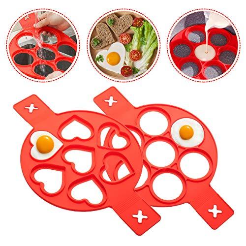 Ledeak Nonstick Silikon Ei Ring Pfannkuchen Form, 2 Stücke Wiederverwendbar Auslaufsichere Pfannkuchenformen, Multifunktional Breakfast Pancake Shaper