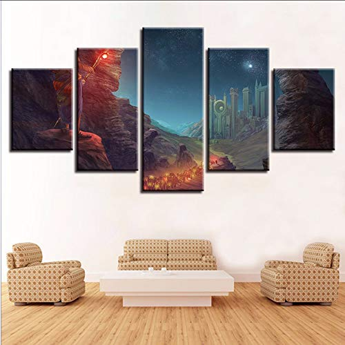 Pmhhc Hd Print kunst schilderijen decor wand 5 stuks wandelstok sterrenhemel bergen nachtzicht canvas schilderij modulaire poster 20x35cmx2 20x45cmx2 20x55cm-framed