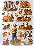 Glanzbilder Hase Kaninchen EF 7292 Oblaten Posiebilder Scrapbook Deko GWI 319