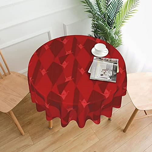 Mantel redondo de 152 cm, impermeable, resistente a las manchas, tela de poliéster a prueba de derrames, patrón Origami, para comedor, cocina, fiestas