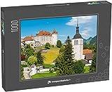 monpuzzlephoto Puzzle 1000 pièces Paysage pittoresque avec Le château médiéval de Gruyères dans Le Canton de Fribourg