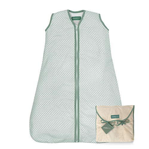 molis&co. Saco de Dormir para bebé. 1.0 TOG. 18 a 36 Meses. Ideal para Primavera y otoño. Vichy Green. 100% algodón orgánico (Gots).