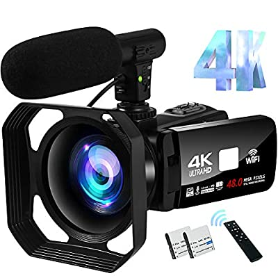 4K Video Camera Camcorder 48MP Image Vlogging Camera with Wi-Fi Video Camera for YouTube with Microphone, Remote Control and Touch Screen by S & P Safe and Perfect