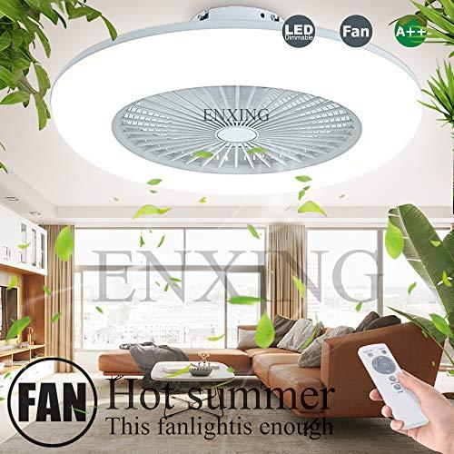 Deckenventilator Mit Beleuchtung LED-Licht Fan Deckenleuchte Dimmbare Fan Deckenlampe Deckenleuchte Fernbedienung Ultra-Leise Kann Timing Modernes Wohnzimmer Schlafzimmer Lampe Φ58 H20cm,Weiß
