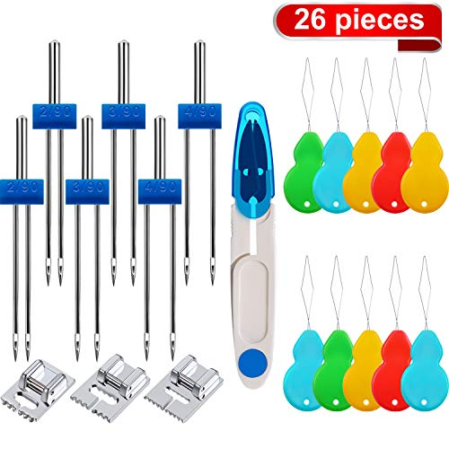 12 Pieces Twin Stretch Machine Needles Double Needles with 3 Sizes Groove Pintuck Presser Foot, Scissors and 10 Pieces Gourd-Shaped Threaders for Sewing Machines (3 Sizes Mixed 2.0/90, 3.0/90, 4.0/90)