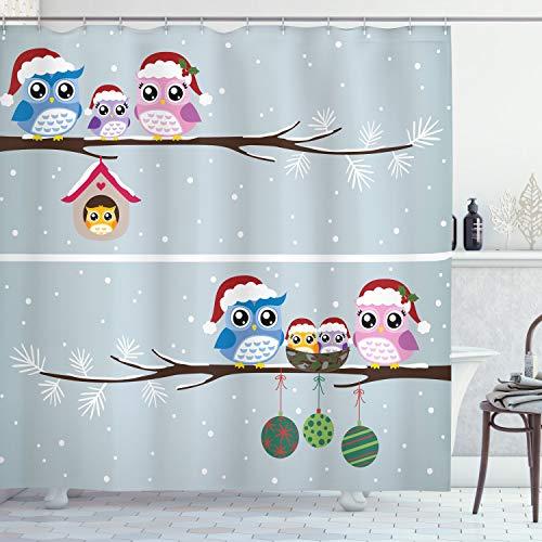 ABAKUHAUS Weihnachten Duschvorhang, Eulen mit Sankt-Hüten, Seife Bakterie Schimmel & Wasser Resistent inkl. 12 Haken & Farbfest, 175 x 200 cm, Grau