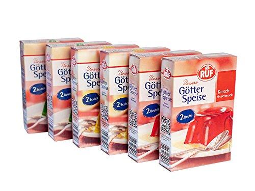 RUF Götterspeise: je 2 Packungen: Kirsch 2er Pack 2x12g, Zitrone 2er Pack 2x12g, Waldmeister 2er Pack 2x12g