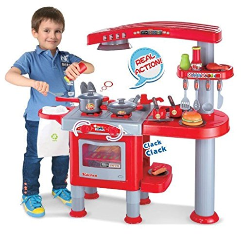 Allkindathings 69 Pcs Large Children Kids Kitchen Cooking Role Play Pretend Toy Cooker Oven Set