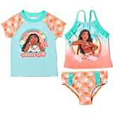 Disney Princess Moana Little Girls Rash Guard Tankini Swimsuit Set Orange/Teal 6X
