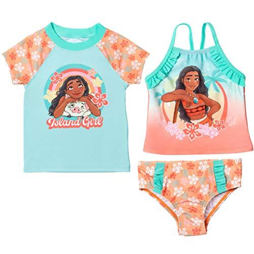 Disney Princess Moana Little Girls Rash Guard Tankini Swimsuit Set Orange/Teal 6X