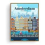Turismo Amsterdam Bangkok Barcelona Berlín cartel pintura arte cartel impresión lienzo decoración del hogar imagen pared impresión -50x70cmx1pcs -sin marco