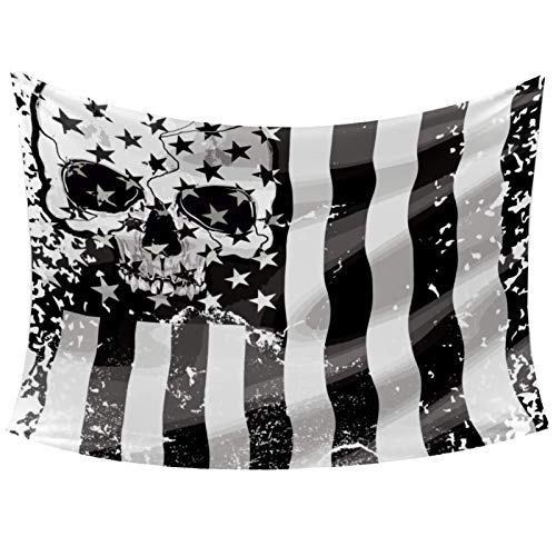 Cool Skull American USA Flag Tapestry Wall Hanging for Home Wall Decorative for Living Room Bedroom Dorm Decoration, 60'X51'