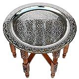Marokkanischer Tisch, aus Versilbertem Messing Tablett, Zedernholz Gestell Ø 80 cm | Antik Vintage Orientalischer Arabischer Beistelltisch Teetisch 100% traditionelle Handarbeit