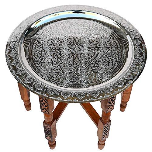 Marokkanischer Tisch, aus Versilbertem Messing Tablett, Zedernholz Gestell Ø 80 cm   Antik Vintage Orientalischer Arabischer Beistelltisch Teetisch 100% traditionelle Handarbeit
