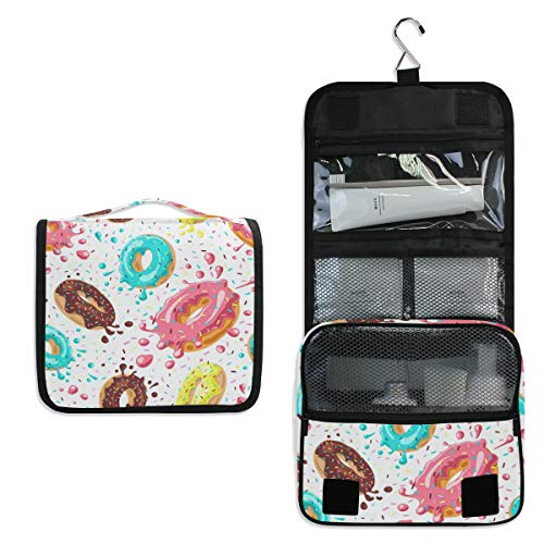 XLING Toiletry Bag Colorful Yummy Sweet Chocolate Donuts Wash Gargle Bag Travel Portable Cosmetic Makeup Brush Case with Hanging Hook Organizer for Women Men