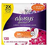 Always Discreet, Incontinence Liners for Women, Very Light, Regular Length, 120 Count (Pack of 1)