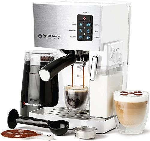 EspressoWorks 10Pc All-in-One Barista Bundle Espresso Machine & Cappuccino Maker, Built in Milk Steam & Frother, Electric Grinder, 2 Cappuccino & 2 Espresso Cups,16 Coffee Stencils (White)