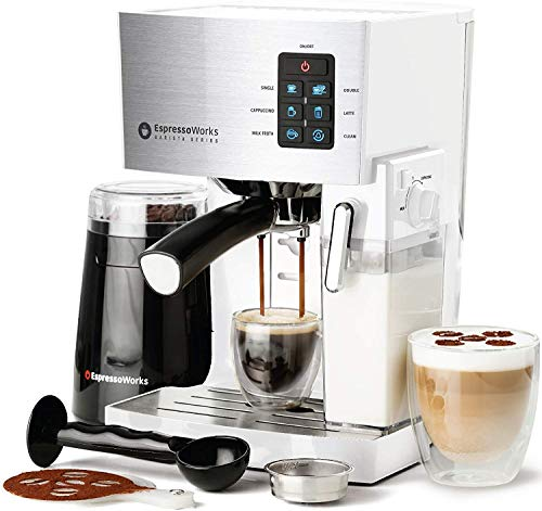 EspressoWorks 10Pc All-in-One Barista Bundle Espresso Machine & Cappuccino Maker, Built in Milk Steam & Frother, Electric Grinder, 2 Cappuccino & 2 Espresso Cups,16 Coffee Stencils (White)