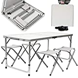 KZKR Table Pliante 120x60x70 cm Table de Pique-Nique Table de Jardin Table de Camping Table Pliante Portable...