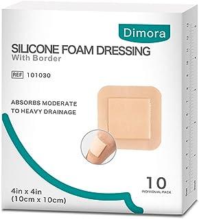 """پانسمان فوم سیلیکونی با چسب حاشیه ضد آب 4 """"* 4"""" (10 سانتی متر * 10 سانتی متر) بسته 10 پانسمان مربع برای مراقبت از زخم"""