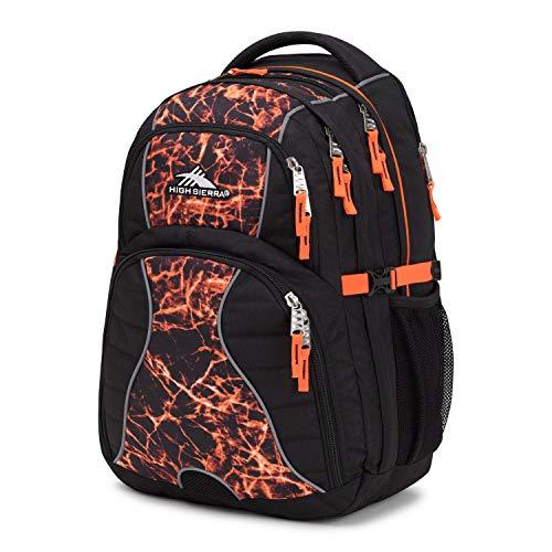 High Sierra Swerve Laptop Backpack, Black/Fireball/Elecric Orange, 19 x 13 x 7.75-Inch