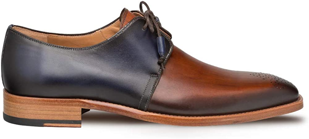 Mezlan Montes - Mens Luxury Lace-Up Dress Shoes - Classic 2-Eyelet Plain Toe Blucher with Two-Toned Hand-Burnished Italian Calfskin Leather - Handcrafted in Spain