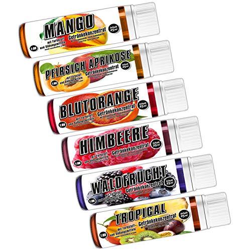 C.P. Sports Getränkekonzentrat 25ml Probe – 6 Geschmäcker Test Mix F – zuckerfrei, kalorienfrei, aspartamfrei – Verhältnis 1:80 – L-Carnitin, Vitamine – Sport Konzentrat Sirup Getränkesirup