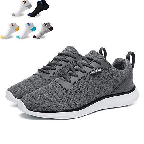 XFQ Caminar Los Hombres De Las Zapatillas De Deporte Ligera Informal Athletic Trainers Amortiguación Tenis Running Zapatos De Gimnasia con 5 Pares De Calcetines Deportivos,Gris,46EU