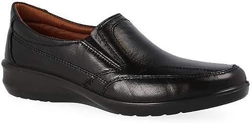 Zapato Mocasin damen en Piel de Cordero Farbe schwarz de la Marca LUISETTI con elásticos, Forro Piel y Plantilla Piel Extraible 0305-35