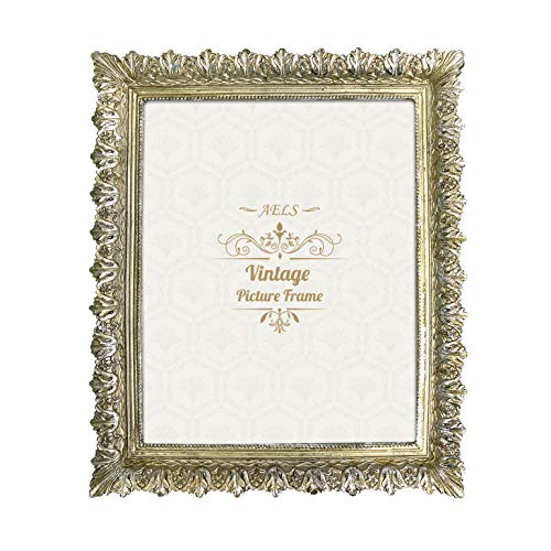 AELS 8x10 Inch Vintage Picture Frame, Elegant Antique Photo Frames with Glass Front, Photo Display, Tabletop Wall Hanging, Gift Ideas, Carved Leaves