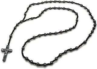 Hematite Rosary Bead Necklace with Hematite Chain and Hematite Cross Crucifix Pendant